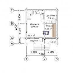 Дом баня из оцилиндрованного бревна проект Б-43