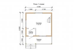 Проект дома с мансардой из бруса БД-32