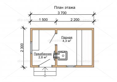 Проект бани Б-110