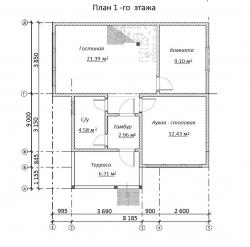 Проект БД-51 Дом из бруса