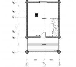 Баня из оцилиндрованного бревна проект Б-48