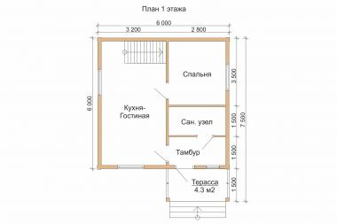Проект дома из бруса БД-10