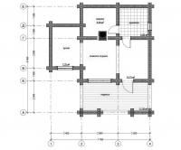 Дом баня из оцилиндрованного бревна проект Б-48
