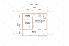 Проект Б-123 6х6 м Дом баня из бруса